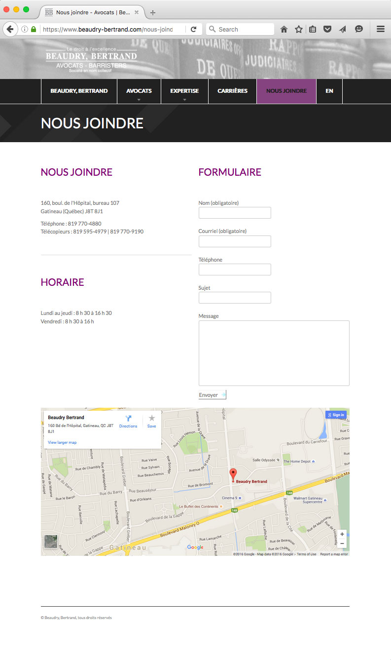 Site Internet de Beaudry-Bertrand Avocats – Desrosiers Design Communications Marketing