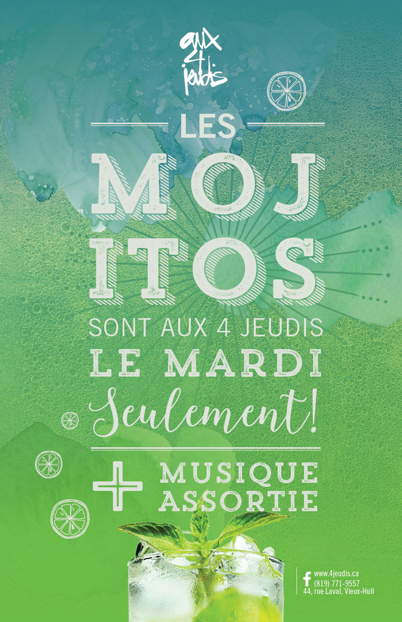 Mardis Mojitos – Aux 4 jeudis – Sylvie Desrosiers Design Communications Marketing